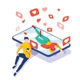 Wirtualni związki, online datowanie i ogólnospołeczny networking pojęcie, nastolatkowie gawędzi na internecie, wektor isometric ilustracji