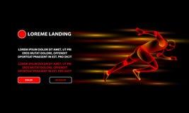 Wirtualny bieg mężczyzna lądowania strony szablon Czerwonego ogienia szybkobiegacza czerni tło ilustracji