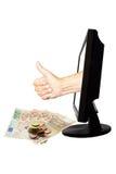 Wirtualny liczby jeden pracy drużynowy sukces z pieniądze - interneta biznesowy pojęcie - Zdjęcie Royalty Free