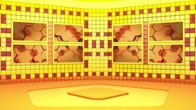 Wirtualny nadawczy studio z loopingu materiału filmowego abstrakcjonistycznym wideo i zielonym parawanowym terenem Kamera ruch za royalty ilustracja