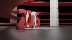 Wirtualny przedstawienie pokój z 2016 nowy rok simbol, odizolowywającym na czerni Obraz Royalty Free
