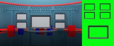 Wirtualny studio z wszywka ekranem Zdjęcie Stock