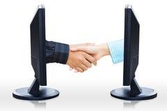 Wirtualny uścisk dłoni Zdjęcia Royalty Free