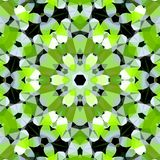 Wiruje poligonalnego kwiatu wzór w jasnozielonym, czarny i biały, obrazek wiosna Obrazy Royalty Free