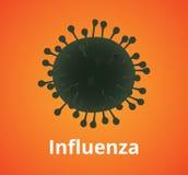 Wirus grypy komórki ilustracja odizolowywająca z pomarańczowym tłem ilustracja wektor