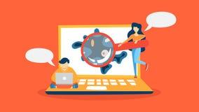 Wirus na laptop wykrywającym pojęciu ilustracja wektor