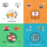Wirusowi 4 marketingu ikon płaski kwadrat Fotografia Royalty Free