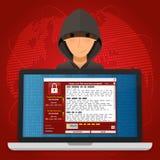 Wirusowy Malware Ransomware wannacry utajniał twój requi i kartoteki ilustracji