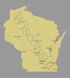 Wisconsin accurate vector exact detailed State Map with Communit Stock Photography
