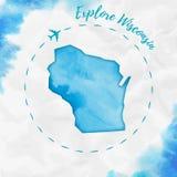 Wisconsin akwareli stanu usa mapa w turkusie Fotografia Royalty Free