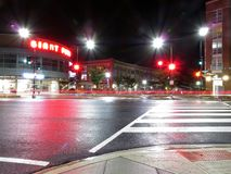 Wisconsin Avenue at Night in Washington DC. Photo of wisconsin avenue in washington dc at night on 6/20/18 with shopping center in background.  Time exposure of Royalty Free Stock Image