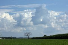 Wisconsin beauty. Lovely clouds over a peaceful rural scene Royalty Free Stock Image