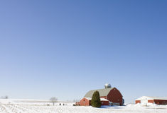 Wisconsin Dairy Farm In The Winter. A small Wisconsin dairy farm with cattle in the winter. Big blue sky for copy area. Could make a nice Christmas card design royalty free stock image