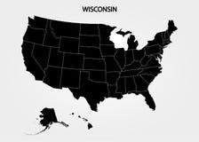 wisconsin Estados del territorio de América en fondo gris Estado separado Ilustración del vector