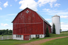 Wisconsin family farm. Old red barn sits on a wisconsin family farm Royalty Free Stock Photo