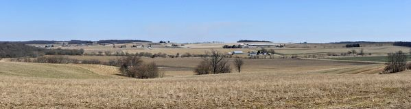 Wisconsin farm land panorama. Vast midwest farm land panorama from southern wisconsin Royalty Free Stock Images