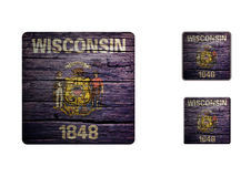 Wisconsin flag Buttons Royalty Free Stock Images