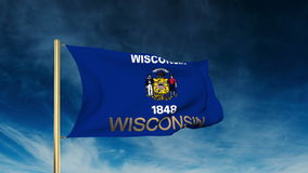 Wisconsin flag slider style with title. Waving in stock footage