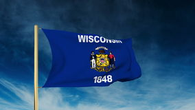 Wisconsin flag slider style. Waving in the win stock video footage