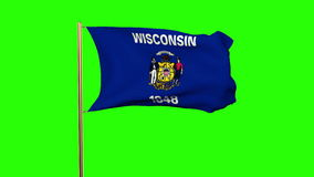 Wisconsin flag waving in the wind. Green screen. Alpha matte. Loops animation stock video