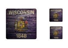 Wisconsin flaggaknappar Royaltyfria Bilder