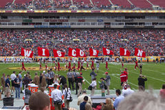Wisconsin Football Outback Bowl Sport. Cheerleaders holding flags that spell WISCONSIN at the the Outback Bowl football game in Tampa, Florida Stock Photo