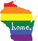 Wisconsin gay pride vector state sign. LGBT community pride vector U.S. state decal: easy-edit layered vector EPS10 file scalable to any size without quality royalty free illustration