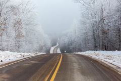 Wisconsin 107 in January. Scenic view of highway 107 in Lincoln County Wisconsin Stock Photography