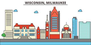 Wisconsin, Milwaukee City.City skyline   Royalty Free Stock Images