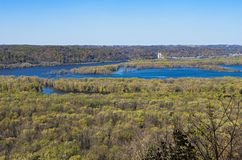 Wisconsin and Mississippi Rivers Confluence at Wyalusing royalty free stock photos