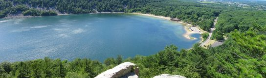 Wisconsin nature. Panorama of Devils Lake State Park in Wisconsin royalty free stock image