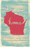 Wisconsin nostalgic rustic vintage state vector sign. Rustic vintage style U.S. state poster in layered easy-editable vector format Stock Photos
