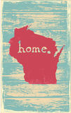 Wisconsin nostalgic rustic vintage state vector sign Stock Image