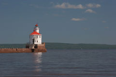 Wisconsin Point Lighthouse. Superior South Breakwater Lighthouse also known as Wisconsin Point on Lake Superior Stock Photo