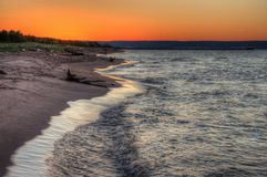 Wisconsin Point in Superior, Wisconsin is on the shore of Lake S. Uperior stock images