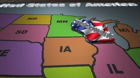 Wisconsin pull out from USA states abbreviations map. State Wisconsin pull out from USA map with american flag on background. A map of the US showing the two stock footage