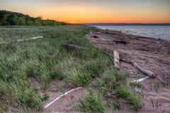 Wisconsin punkt i överman, Wisconsin är på kusten av sjö S Royaltyfri Foto