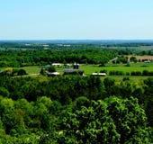 Wisconsin röda ladugårdar arkivbild