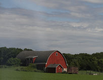 Wisconsin Red Barn with green fields. Red farm barn with green fields in summer with a beautiful blue sky with puffy white clouds Stock Photo