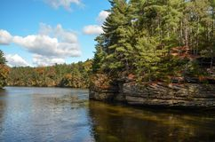 On the Wisconsin River in the Dells. A view on the Wisconsin River of rock formations in the Wisconsin Dells stock photos