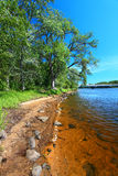 Wisconsin River Landscape Portage. Sandy shoreline of the Wisconsin River near the town of Portage stock photos