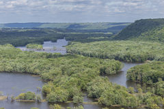 Wisconsin River Into Mississippi River. A scenic view of where the Wisconsin River empties into the Mississippi River royalty free stock photography
