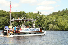 Wisconsin river pontoon parade 4th of July Stock Image