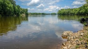 Wisconsin River with Rocky Shoreline Stock Photos