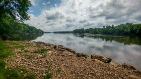 Free Wisconsin River With Rocky Shoreline Stock Images - 120745554