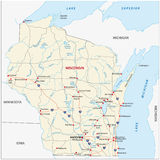 Wisconsin road map Stock Image