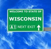 WISCONSIN road sign against clear blue sky royalty free stock photography