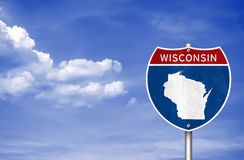 Wisconsin road sign map stock photo