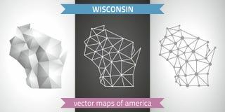 Wisconsin-Sammlung der modernen Karten-, Grauer und Schwarzer und silbernerdes punktkonturn-Mosaiks 3d Karte des Vektordesigns Stockfotografie