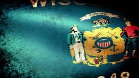 Wisconsin Sate Flag Waving, grunge look stock footage